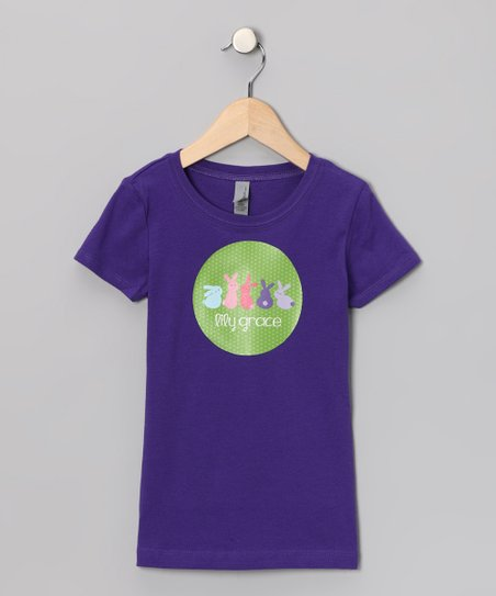 Lima Bean Kids Purple Bunny Lineup Personalized Tee - Girls