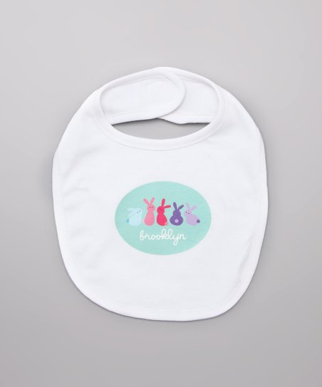 Lima Bean Kids White Bunny Lineup Personalized Bib
