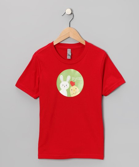 Red Bunny & Chick Personalized Tee - Boys