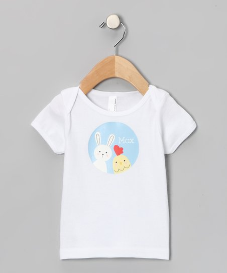 White Chick & Bunny Personalized Lapneck Tee - Infant
