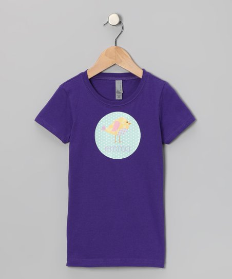 Purple Patchwork Bird Personalized Tee - Girls