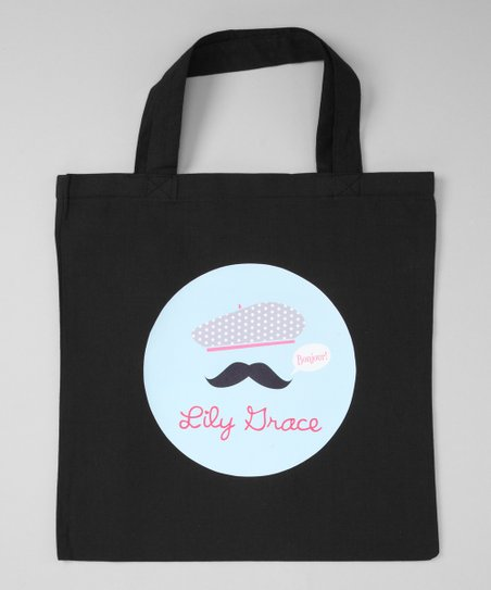Black Bonjour Mustache Personalized Tote