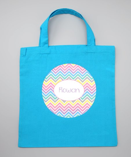 Blue Chevron Easter Personalized Tote
