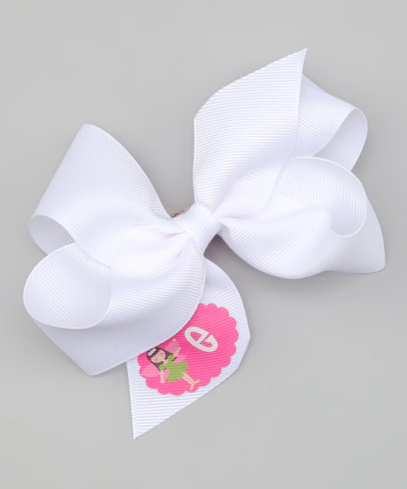 White Brown-Haired Fairy Personalized Bow