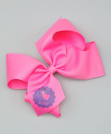 Hot Pink Dark-Haired Fairy Personalized Bow Clip