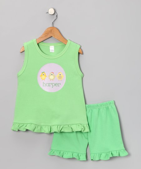 Green Chickadee Personalized Tank & Shorts - Toddler & Girls