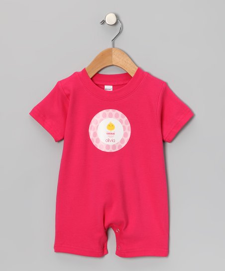 Hot Pink Chick in Egg Personalized Romper - Infant