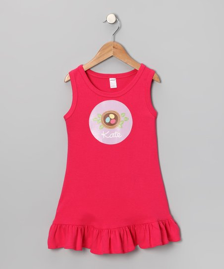 Hot Pink Nest Personalized Dress - Toddler & Girls