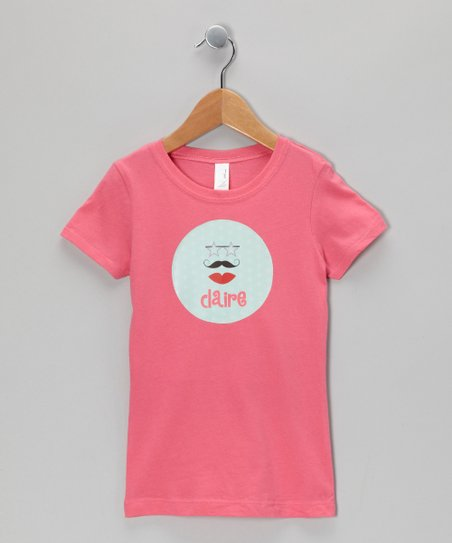 Hot Pink Glam-Stache Personalized Tee - Girls