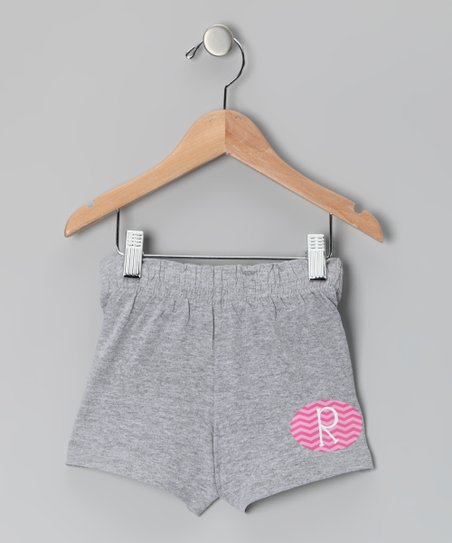 Gray Initial Shorts - Girls
