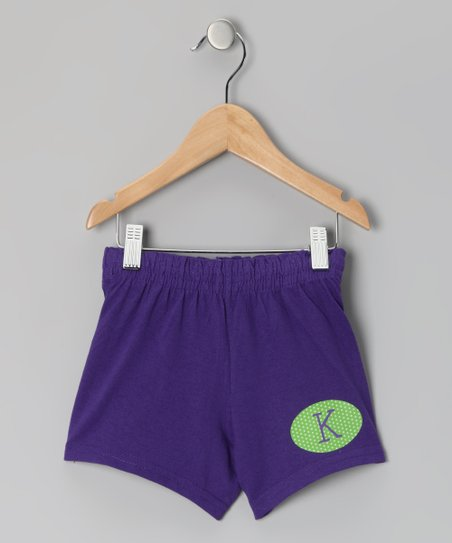 Purple Initial Shorts - Girls