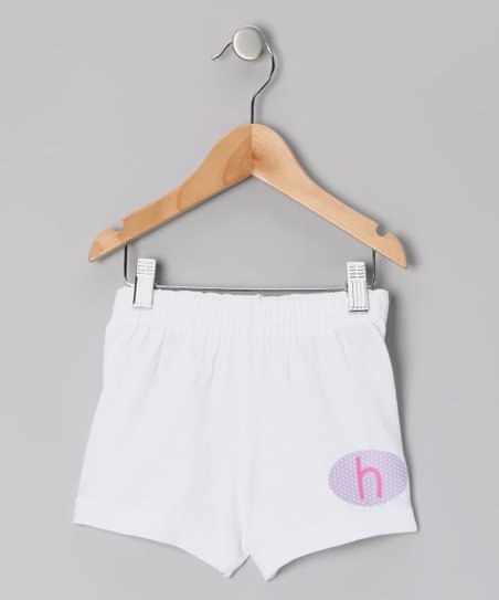 White Initial Shorts - Girls