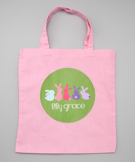 Lima Bean Kids White Bunny Lineup Personalized Tote