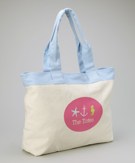 Pink Nautical Personalized Beach Tote