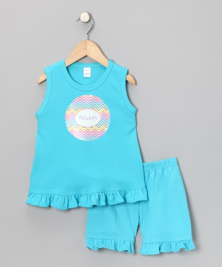 Turquoise Easter Personalized Tank & Shorts - Toddler & Girls