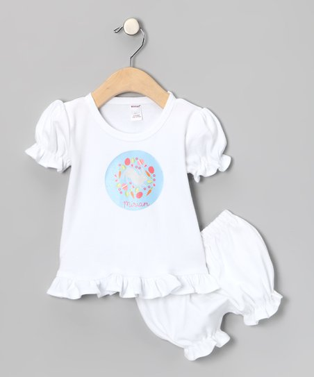White Easter Collage Personalized Top & Bloomers - Infant