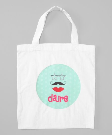 White Glam-Stache Personalized Tote