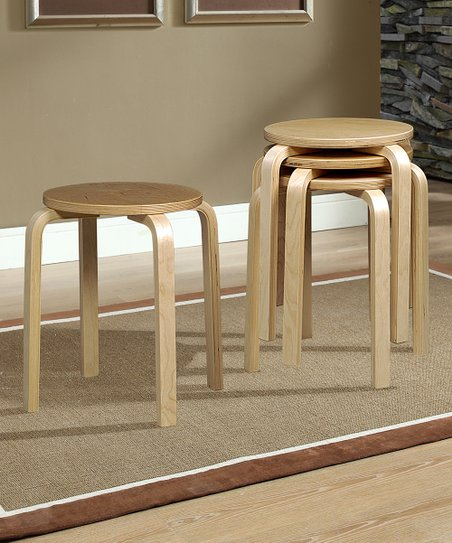 Natural Bentwood Stool - Set of Four