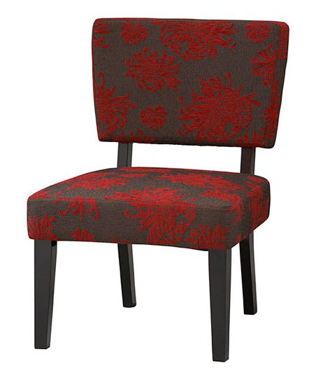 Gray &amp; Red Flower Taylor Accent Chair