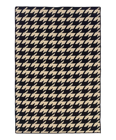 Black Houndstooth Salonika Wool Rug
