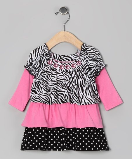 Pink Zebra Polka Dot Tier Tunic - Infant & Toddler