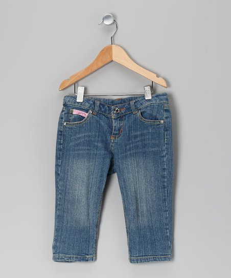 Blue Rain of Colors Cropped Jeans - Toddler & Girls