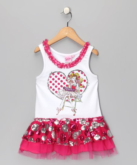 Pink Polka Dot Heart Sequin Dress - Toddler & Girls