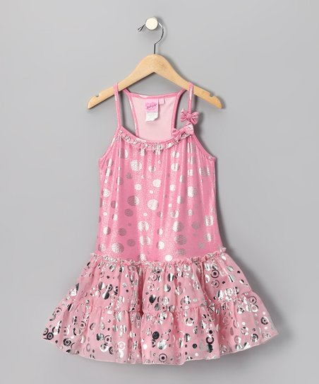 Light Pink Metallic Polka Dot Dress - Girls