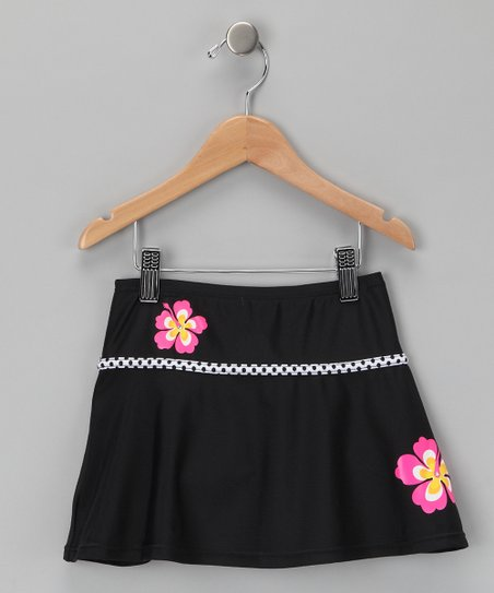 Black & Pink Flower Swim Skirt