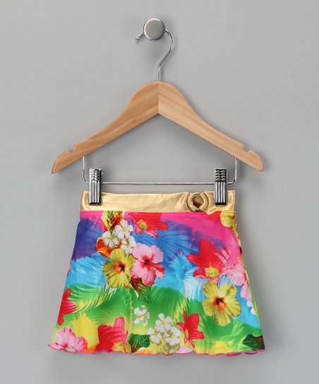 Neon Flower Swim Skirt