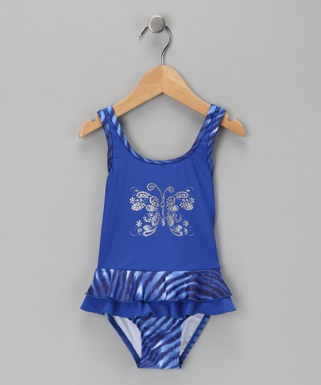 Blue Butterfly Ruffle One-Piece