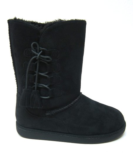 Black Tassel Hug Boot - Kids
