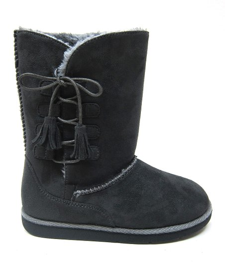 Gray Tassel Hug Boot - Kids