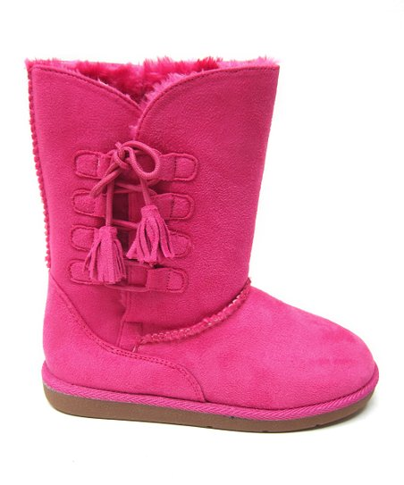 Hot Pink Tassel Hug Boot - Kids