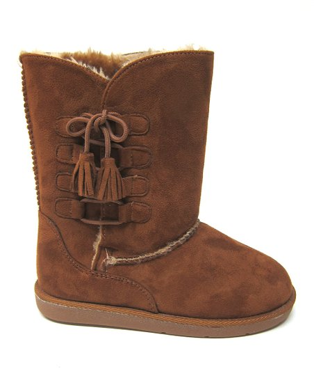 Tan Tassel Hug Boot - Kids