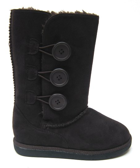 Brown Button Hug Boot - Kids