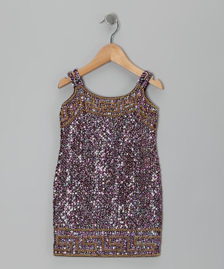 Burgundy Greek Sequin Dress - Toddler & Girls