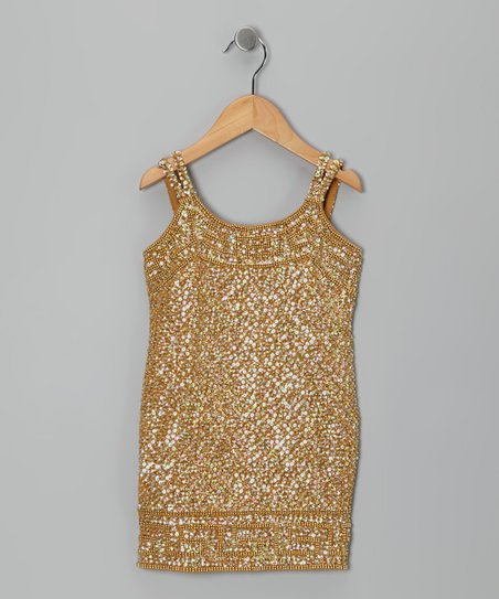 Gold Greek Sequin Dress - Toddler & Girls