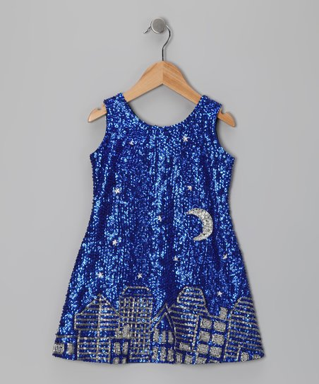 Blue Sequin Cityscape Dress - Toddler