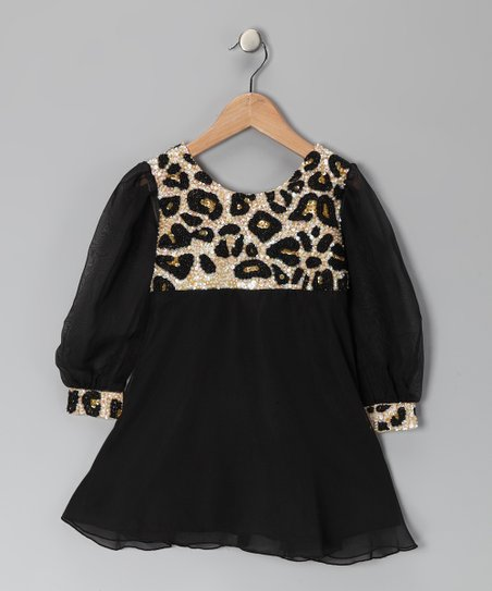 Black Leopard Sequin Dress - Toddler & Girls