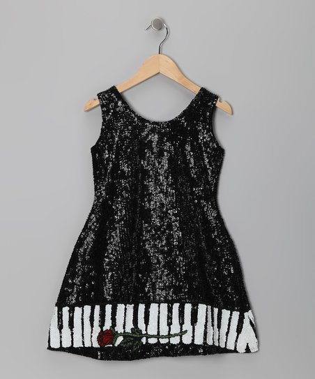 Black Piano Sequin Dress - Toddler