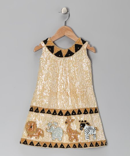 Cream Sequin Safari Dress - Toddler & Girls