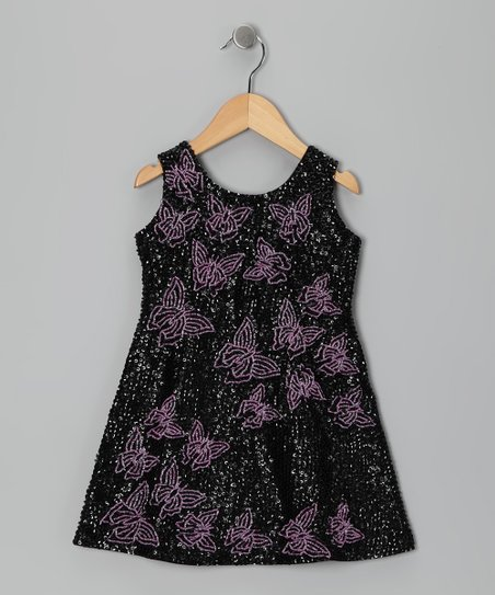 Black & Fuchsia Sequin Butterfly Dress - Toddler & Girls
