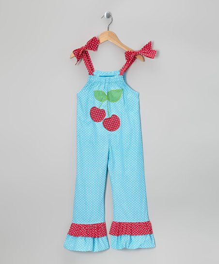 Turquoise Cherry Jumpsuit - Toddler & Girls