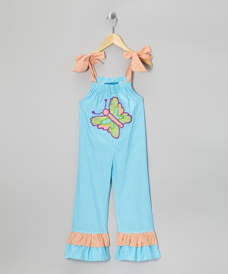 Turquoise Butterfly Jumpsuit - Toddler & Girls