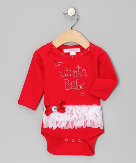 Red & White 'Santa Baby' Ruffle Bodysuit - Infant