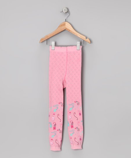 Pink & Aqua Footless Tights - Toddler & Girls