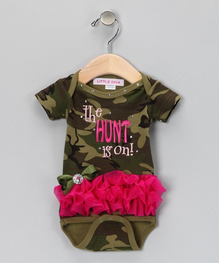 Green Camouflage 'The Hunt is On!' Bodysuit - Infant