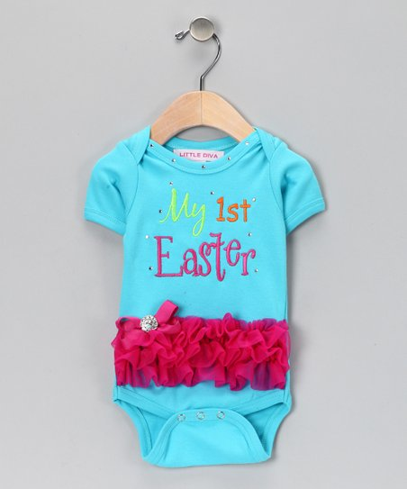 Turquoise 'My 1st Easter' Bodysuit - Infant