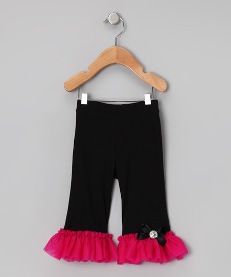 Black & Hot Pink Ruffle Pants - Infant, Toddler & Girls